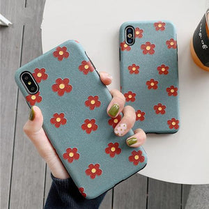 Red Flower Painting Silk Texture Phone Case Back Cover for iPhone XS Max/XR/XS/X/8 Plus/8/7 Plus/7/6s Plus/6s/6 Plus/6 - halloladies