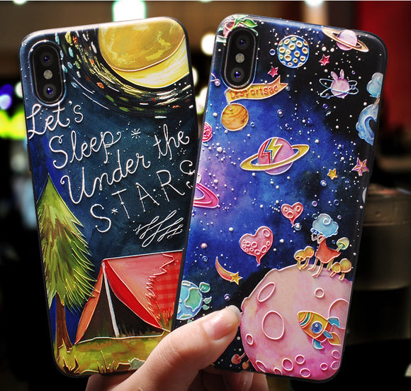 Art Star Cartoon Paint Phone Case Soft Back Cover for iPhone 11/11 Pro/11 Pro Max/XS Max/XR/XS/X/8 Plus/8/7 Plus/7 - halloladies