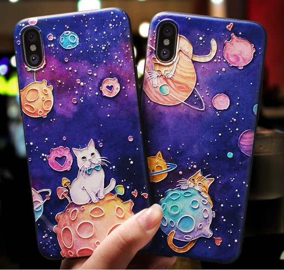 Cat Space Cartoon Paint Phone Case Soft Back Cover for iPhone 11/11 Pro/11 Pro Max/XS Max/XR/XS/X/8 Plus/8/7 Plus/7 - halloladies