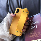 Solid Color Wrist Hand Stand Phone Case Back Cover for iPhone XS Max/XR/XS/X/8 Plus/8/7 Plus/7/6s Plus/6s/6 Plus/6 - halloladies