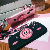 3D Pig Camera Shape with Strap Phone Case Back Cover - iPhone XS Max/XR/XS/X/8 Plus/8/7 Plus/7/6s Plus/6s/6 Plus/6 - halloladies