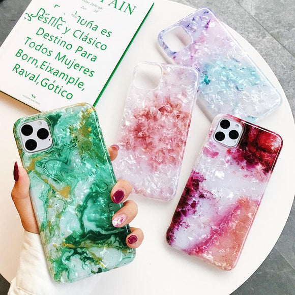 Luxury Marble Dream Shell Soft Phone Case Back Cover - iPhone 11/11 Pro/11 Pro Max/XS Max/XR/XS/X/8 Plus/8/7 Plus/7 - halloladies