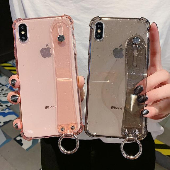 Glitter Powder Air Bag Corner Soft Wrist Strap Transparent Phone Case Back Cover for iPhone 11/11 Pro/11 Pro Max/XS Max/XR/XS/X/8 Plus/8/7 Plus/7 - halloladies