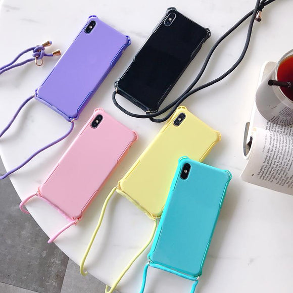 Simple Candy Color with Shoulder Strap Phone Case Back Cover for iPhone 11/11 Pro/11 Pro Max/XS Max/XR/XS/X/8 Plus/8/7 Plus/7 - halloladies