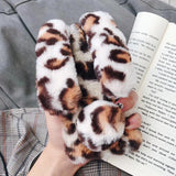 Leopard Fluffy Plush Rabbit Fur Ears Tail Phone Case Back Cover - iPhone XS Max/XR/XS/X/8 Plus/8/7 Plus/7/6s Plus/6s/6 Plus/6 - halloladies