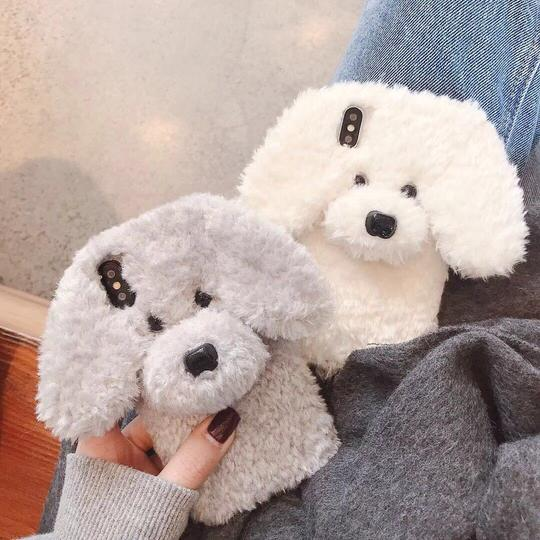 Plush Fluffy Fur Cute Dog Silicone Phone Case Back Cover for iPhone XS Max/XR/XS/X/8 Plus/8/7 Plus/7/6s Plus/6s/6 Plus/6 - halloladies