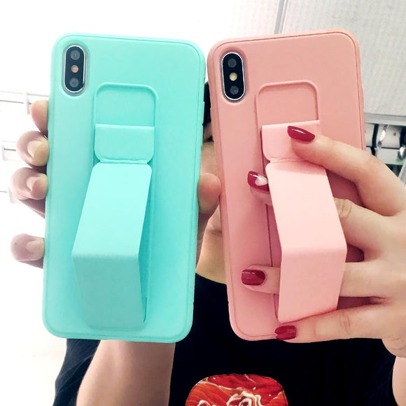 Magnetic bracket Wrist Strap Soft Silicone Candy Color Phone Case Back Cover - iPhone 11 Pro Max/11 Pro/11/XS Max/XR/XS/X/8 Plus/8 - halloladies
