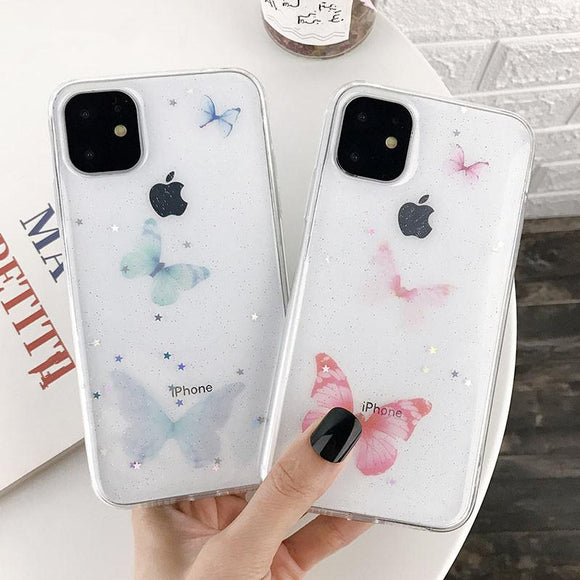Butterfly Glitter Star Clear Soft Phone Case Back Cover for iPhone 12 Pro Max/12 Pro/12/12 Mini/SE/11 Pro Max/11 Pro/11/XS Max/XR/XS/X/8 Plus/8 - halloladies
