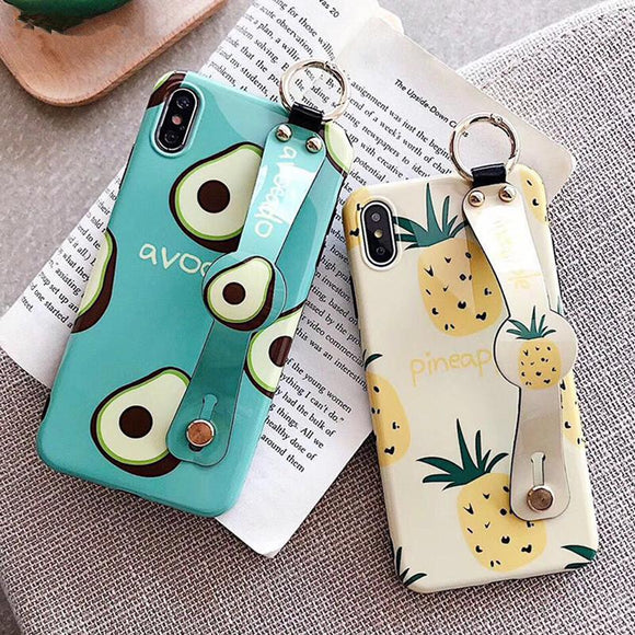 Cute Avocado Pineapple Wristband Stand Holder Phone Case Back Cover - iPhone XS Max/XR/XS/X/8 Plus/8/7 Plus/7/6s Plus/6s/6 Plus/6 - halloladies