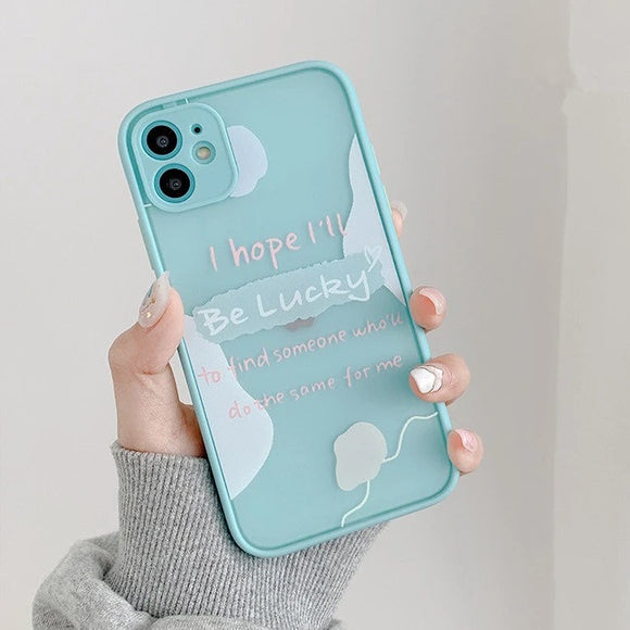 Contrast Color Letters Clear Matte Soft Phone Case Back Cover for iPhone 12 Pro Max/12 Pro/12/12 Mini/SE/11 Pro Max/11 Pro/11/XS Max/XR/XS/X/8 Plus/8 - halloladies