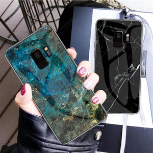 Fashion Tempered Glass Marble Phone Case Back Cover - Samsung Galaxy S20 Ultra/S20 Plus/S20/S10E/S10 Plus/S10/S9 Plus/S9/S8 Plus/S8 - halloladies