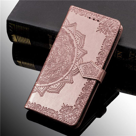 3D Flower Leather Flip Phone Case Back Cover - Samsung Galaxy S10E/S10 Plus/S10/S9 Plus/S9/S8 Plus/S8, Samsung Note 9/Note 8 - halloladies