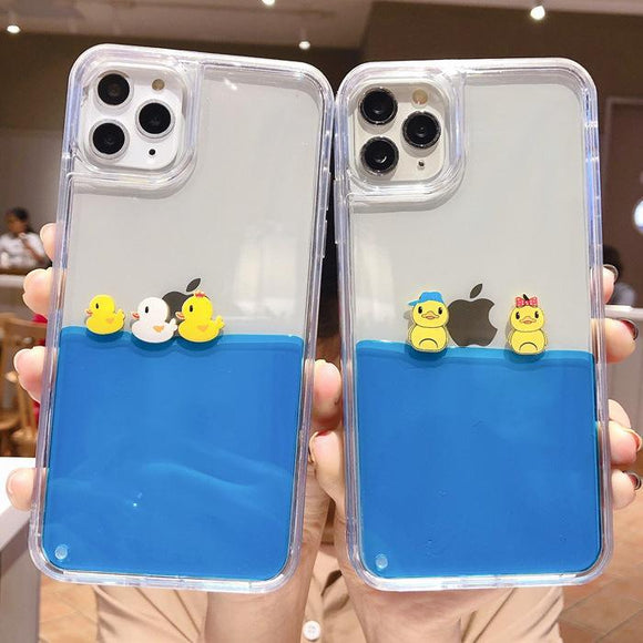 Cute Swimming Duck Liquid Quicksand Soft TPU Phone Case Back Cover for iPhone 12 Pro Max/12 Pro/12/12 Mini/SE/11 Pro Max/11 Pro/11/XS Max/XR/XS/X/8 Plus/8 - halloladies