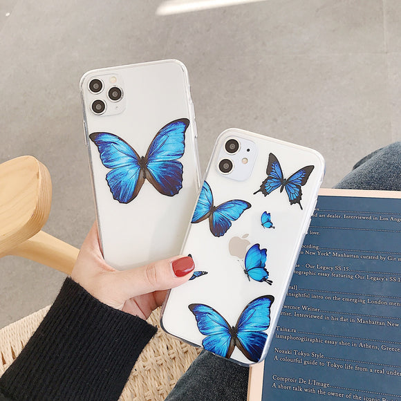 Cute Butterfly Blue Phone Case Back Cover - iPhone 12 Pro Max/12 Pro/12/12 Mini/SE/11 Pro Max/11 Pro/11/XS Max/XR/XS/X/8 Plus/8 - halloladies