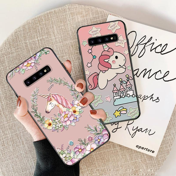 Unicorn 3D Relief Cartoon Soft TPU Phone Case Back Cover for Samsung A80/A70 - halloladies