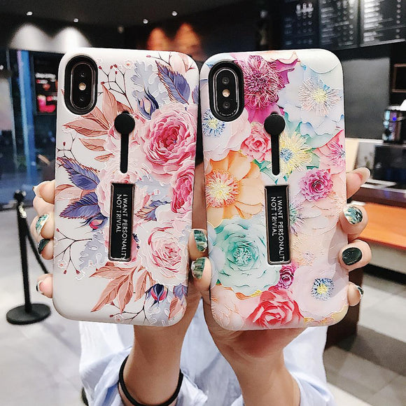 Fashion Flower Hide Ring Stand Holder Phone Case Back Cover - iPhone  11 Pro Max/11 Pro/11/XS Max/XR/XS/X/8 Plus/8/7 Plus/7/6s Plus/6s/6 Plus/6 - halloladies