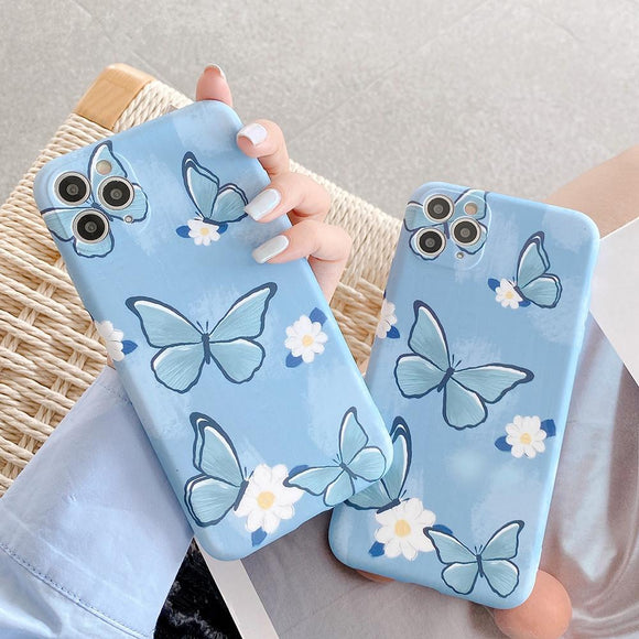 Blue Cute Butterfly Flower Soft Phone Case Back Cover for iPhone 12 Pro Max/12 Pro/12/12 Mini/SE/11 Pro Max/11 Pro/11/XS Max/XR/XS/X/8 Plus/8 - halloladies