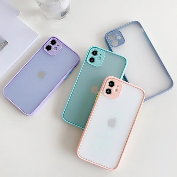 Candy Color Frame Matte Soft Phone Case Back Cover Camera Protector for iPhone 12 Pro Max/12 Pro/12/12 Mini/SE/11 Pro Max/11 Pro/11/XS Max/XR/XS/X/8 Plus/8 - halloladies