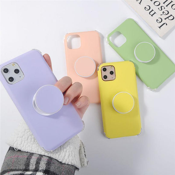 Candy Color Stand Holder Phone Case Back Cover for iPhone 12 Pro Max/12 Pro/12/12 Mini/SE/11 Pro Max/11 Pro/11/XS Max/XR/XS/X/8 Plus/8 - halloladies