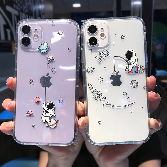 Cartoon Astronaut Planet Soft Clear Phone Case Back Cover for iPhone 12 Pro Max/12 Pro/12/12 Mini/SE/11 Pro Max/11 Pro/11/XS Max/XR/XS/X/8 Plus/8 - halloladies