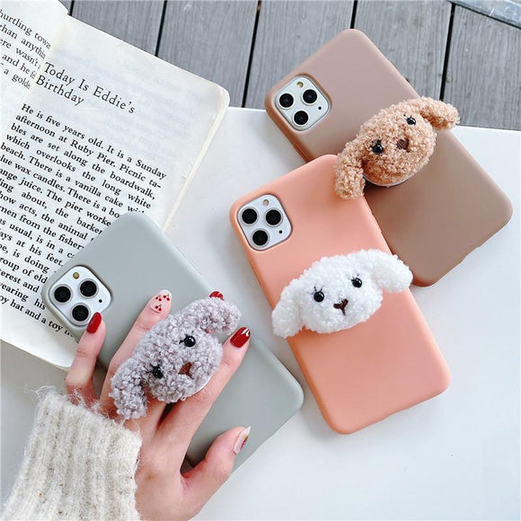 Cartoon Plush Teddy Dog Folding Stand Holder Soft Phone Case Back Cover for iPhone 12 Pro Max/12 Pro/12/12 Mini/SE/11 Pro Max/11 Pro/11/XS Max/XR/XS/X/8 Plus/8 - halloladies