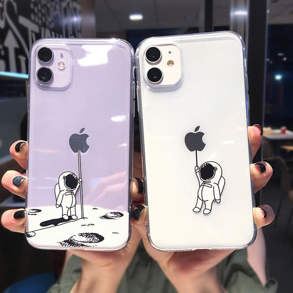 Cartoon Space Astronaut Transparent Soft Phone Case Back Cover for iPhone 12 Pro Max/12 Pro/12/12 Mini/11 Pro Max/11 Pro/11/XS Max/XR/XS/X/8 Plus/8/7 Plus/7 - halloladies