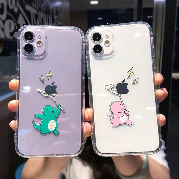 Cartoon Transparent Dinosaur Soft Phone Case Back Cover for iPhone 12 Pro Max/12 Pro/12/12 Mini/SE/11 Pro Max/11 Pro/11/XS Max/XR/XS/X/8 Plus/8 - halloladies
