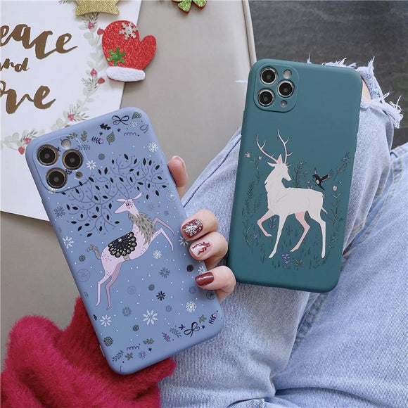 Christmas Deer Snowflake Soft Phone Case Back Cover for iPhone 12 Pro Max/12 Pro/12/12 Mini/SE/11 Pro Max/11 Pro/11/XS Max/XR/XS/X/8 Plus/8 - halloladies