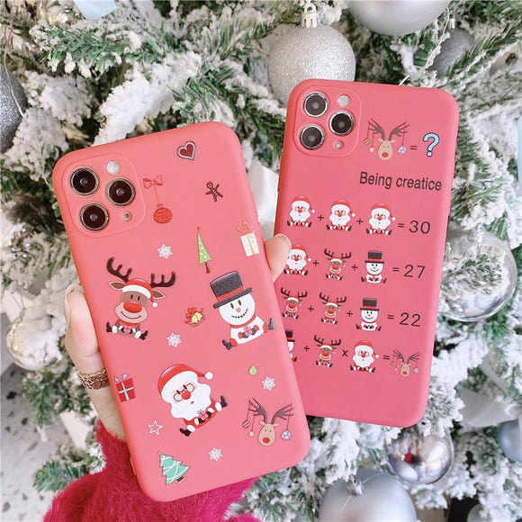 Christmas Deer Snowman Santa Soft Phone Case Back Cover for iPhone 12 Pro Max/12 Pro/12/12 Mini/SE/11 Pro Max/11 Pro/11/XS Max/XR/XS/X/8 Plus/8 - halloladies