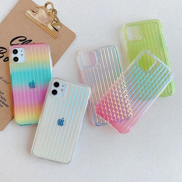 Colorful Gradient Laser Suitcase Transparent Soft Phone Case Back Cover for iPhone 12 Pro Max/12 Pro/12/12 Mini/SE/11 Pro Max/11 Pro/11/XS Max/XR/XS/X/8 Plus/8 - halloladies