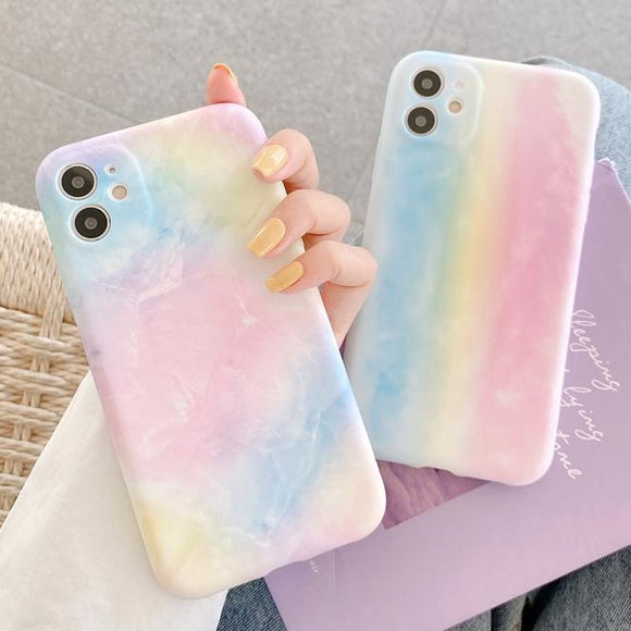 Colorful Rainbow Cloud Soft Silicone Phone Case Back Cover for iPhone 12 Pro Max/12 Pro/12/12 Mini/SE/11 Pro Max/11 Pro/11/XS Max/XR/XS/X/8 Plus/8 - halloladies