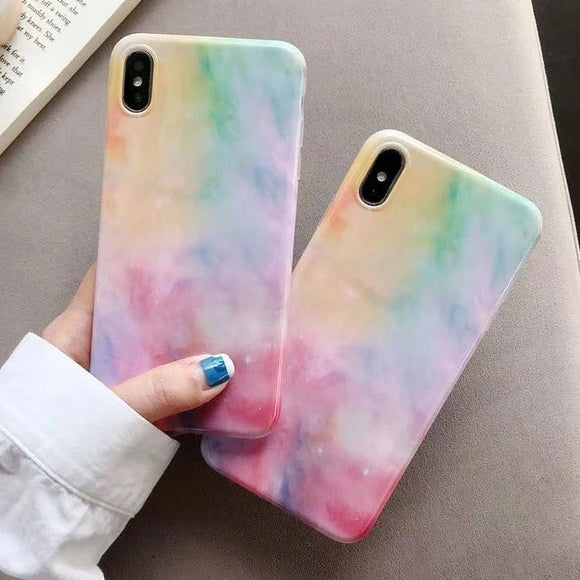 Colorful Rainbow Soft Marble Silicone Phone Case Back Cover for iPhone SE/11 Pro Max/11 Pro/11/XS Max/XR/XS/X/8 Plus/8/7 Plus/7 - halloladies