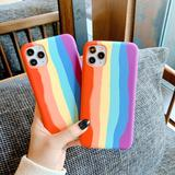 Colorful Rainbow Soft Phone Case Back Cover for iPhone 12 Pro Max/12 Pro/12/12 Mini/11 Pro Max/11 Pro/11/XS Max/XR/XS/X/8 Plus/8/7 Plus/7 - halloladies