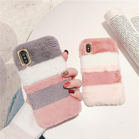 Contrast Color Rabbit Plush Soft Phone Case Back Cover for iPhone 12 Pro Max/12 Pro/12/12 Mini/11 Pro Max/11 Pro/11/XS Max/XR/XS/X/8 Plus/8/7 Plus/7 - halloladies