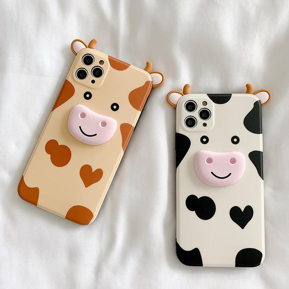 Cute 3D Cow Silicone Soft Phone Case Back Cover  for iPhone 12 Pro Max/12 Pro/12/12 Mini/SE/11 Pro Max/11 Pro/11/XS Max/XR/XS/X/8 Plus/8