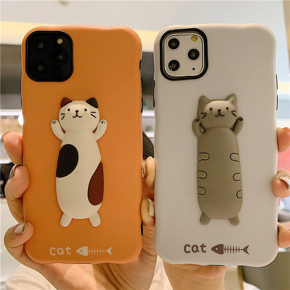 Cute 3D Kitten Cat Fish Soft Silicone Phone Case Back Cover for iPhone 12 Pro Max/12 Pro/12/12 Mini/SE/11 Pro Max/11 Pro/11/XS Max/XR/XS/X/8 Plus/8 - halloladies