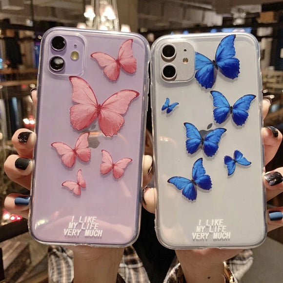 Cute Butterfly Letters Soft Phone Case Back Cover for iPhone 12 Pro Max/12 Pro/12/12 Mini/SE/11 Pro Max/11 Pro/11/XS Max/XR/XS/X/8 Plus/8 - halloladies