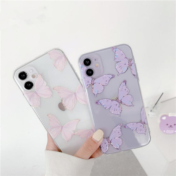 Cute Butterfly Transparent Soft Phone Case Back Cover for iPhone 12 Pro Max/12 Pro/12/12 Mini/SE/11 Pro Max/11 Pro/11/XS Max/XR/XS/X/8 Plus/8 - halloladies