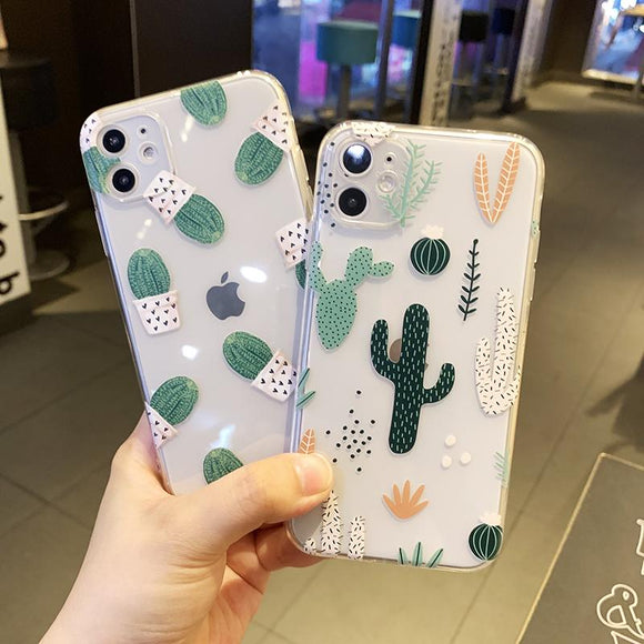 Cute Phone Cases - Cactus Transparent Soft Back Cover for iPhone 12 Pro Max/12 Pro/12/12 Mini/11 Pro Max/11 Pro/11/XS Max/XR/XS/X/8 Plus/8/7 Plus/7 - halloladies