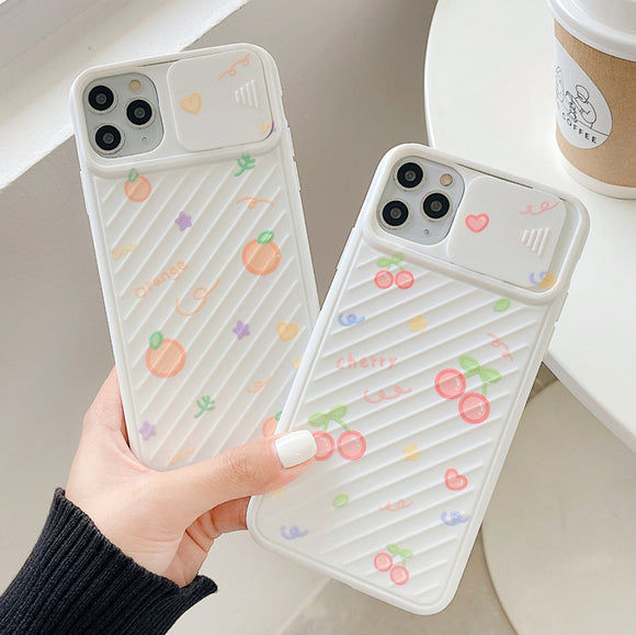 Cute Cherry Orange Soft Silicone Phone Case With Slide Camera Lens Protector Back Cover for iPhone 12 Pro Max/12 Pro/12/12 Mini/SE/11 Pro Max/11 Pro/11/XS Max/XR/XS/X/8 Plus/8 - halloladies