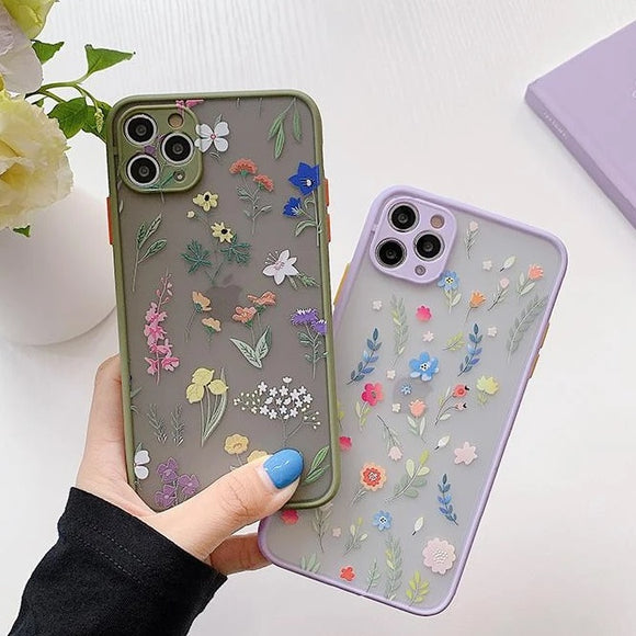 Cute Flower Camera Protector Matte Soft Phone Case for iPhone 12 Pro Max/12 Pro/12/12 Mini/SE/11 Pro Max/11 Pro/11/XS Max/XR/XS/X/8 Plus/8 - halloladies