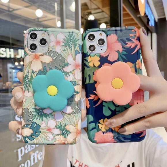 Vintage Cute Flower Leaves Stand Holder Folding Bracket Phone Case Back Cover for iPhone 12 Pro Max/12 Pro/12/12 Mini/SE/11 Pro Max/11 Pro/11/XS Max/XR/XS/X/8 Plus/8 - halloladies
