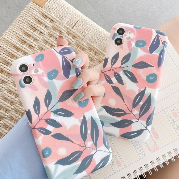 Cute Leaf Plant Soft Silicone Phone Case for iPhone 12 Pro Max/12 Pro/12/12 Mini/SE/11 Pro Max/11 Pro/11/XS Max/XR/XS/X/8 Plus/8 - halloladies