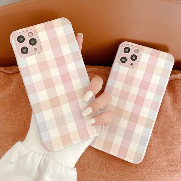 Cute Pink Plaid Soft TPU Silicone Phone Case Back Cover for iPhone 12 Pro Max/12 Pro/12/12 Mini/SE/11 Pro Max/11 Pro/11/XS Max/XR/XS/X/8 Plus/8