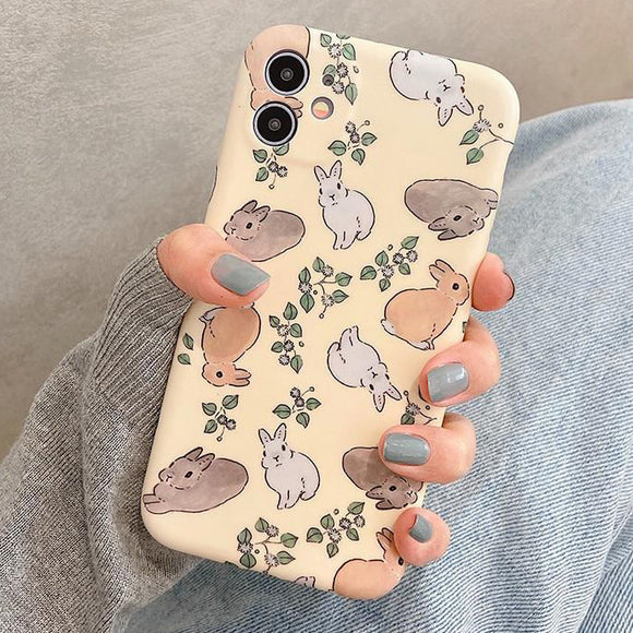 Cute Rabbit Soft Phone Case Back Cover for iPhone 12 Pro Max/12 Pro/12/12 Mini/SE/11 Pro Max/11 Pro/11/XS Max/XR/XS/X/8 Plus/8