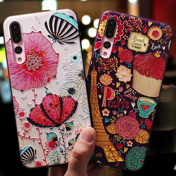 Art Cartoon Paint Phone Case Back Cover - Huawei P30 Lite/P30 Pro/P30/P20 Lite/P20 Pro/P20/Mate 20 Pro/Mate 20x/Mate 20 - halloladies