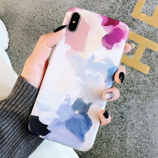Watercolor Painting Scrub Soft TPU Phone Case Back Cover for iPhone XS Max/XR/XS/X/8 Plus/8/7 Plus/7/6s Plus/6s/6 Plus/6 - halloladies