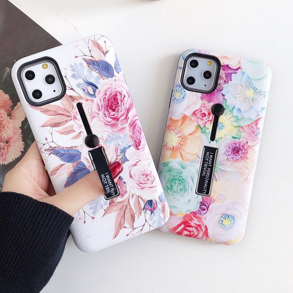 Fashion Flower Hide Ring Stand Holder Phone Case Back Cover - iPhone 12 Pro Max/12 Pro/12/12 Mini/SE/11 Pro Max/11 Pro/11/XS Max/XR/XS/X/8 Plus/8 - halloladies