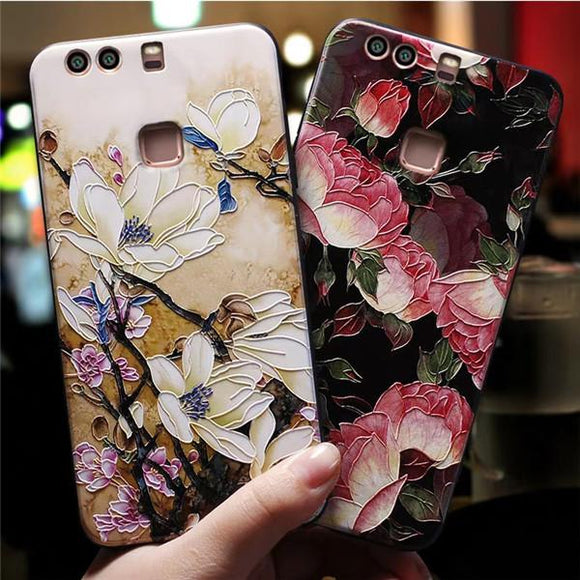 3D Relief Floral Silicone Phone Case Back Cover - Huawei P30 Lite/P30 Pro/P30/P20 Lite/P20 Pro/P20/Mate 20 Pro/Mate 20x/Mate 20 - halloladies