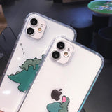 Funny Couples Dinosaur Transparent Soft Phone Case Back Cover for iPhone 12 Pro Max/12 Pro/12/12 Mini/SE/11 Pro Max/11 Pro/11/XS Max/XR/XS/X/8 Plus/8 - halloladies